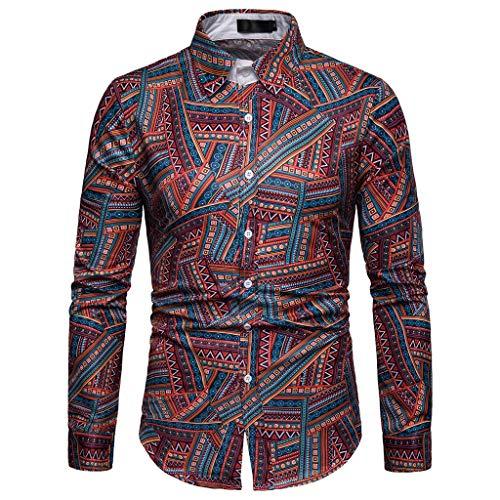 Chemises Homme,FNKDOR Hommes Manche Longue T-Shirt Treillis Plaid La Peinture Grande Taille Décontractée Haut Chemisier Blouse Tops (C Rouge,M)