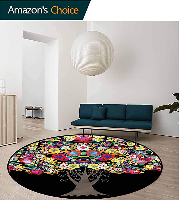 RUGSMAT Floral Warm Soft Cotton Luxury Plush Baby Rugs Floral Trees Blossoms Design Non Slip Fabric Round Rugs For Floor Mat Carpet Diameter 24