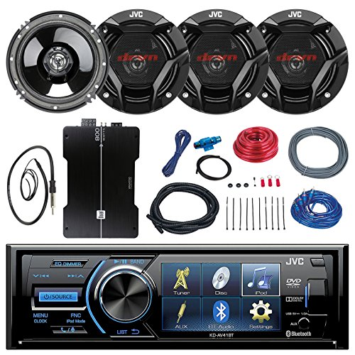 Best Deals! JVC KD-AV41BT 3 Car DVD Bluetooth Stereo Receiver Bundle Combo with 4X 6.5 300 Watt 2-W...