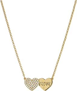 Kate Spade New York - Mom Knows Best Pave Heart Mom Pendant Necklace