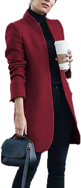 Womens Winter Elegant Pea Coat Slim Midi Trenchcoat Outerwear Plus Size
