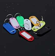 NATFUR Pack of 30pcs Random Color Key Tags with Split Rings Plastic ID Name Label Key-Chain for Women Perfect Great Beauteous Goodly
