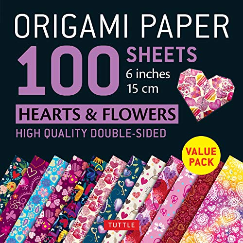 """Origami Paper 500 Sheets Hearts & Flowers Patterns 6"""" (15 Cm) /Anglais: Tuttle Origami Paper: High-Quality Double-Sided Origami Sheets Printed with ... Instructions for 6 Projects Included"""