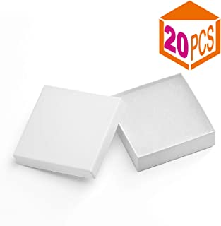 MESHA Jewelry Boxes 3.5x3.5x1 Inches Small White Gift Boxes Paper Boxes for Gift Cardboard Bracelet Boxes with Cotton Filled (White-20Pcs)