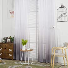 YJBear Polyester Gradient Sheer Curtains for Living Room Rod Pocket Bedroom Voile Window Treatment Curtain Set,Gray,78.7