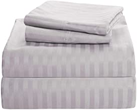 Aashi Rainwear Bed Sheet Set - 100% Long Staple Cotton Full-XL Size Light Grey Stripe (18 Inch Drop)
