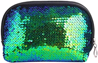 TOOGOO New Fashion Mermaid Sequin Pencil Case Cosmetic Makeup Coin Pouch Storage Zipper Purse Hot Cosmetic Bags(Green + Black)