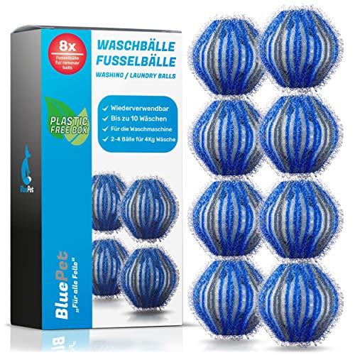 Bluepet® 8x Fusselbälle für die Waschmaschine - Entfernt Tierhaare, Fusseln & Flusen, Haarfänger für Wäschetrockner - Flusenkugeln - Wäscheball