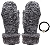 Women's Winter-Warm Cable Knitted Mitten Plush Lining Gloves with Hair Tie.(550,Black)
