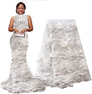 pqdaysun African Lace Applique Fabric 5 Yards 2018 Nigerian French Beaded Lace Net Fabric Embroidered Fabric for Wedding Party F50723 (White)