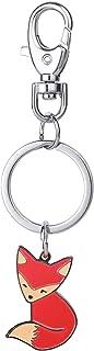 Key Ring,Cute Key chain Pendant Fox Keychain Men Women Bag Hangings Keyring Animal Shape Style Keychain Novelty Metal Enam...