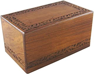 Large Wooden Cremation Urn for Human Ashes Adult -Women /Men - Wood &Hand Engraved Rose Flowers -Display Burial At Home or in Niche at Columbarium (Elegant Model, Funeral Urn for Ashes Mother / Father