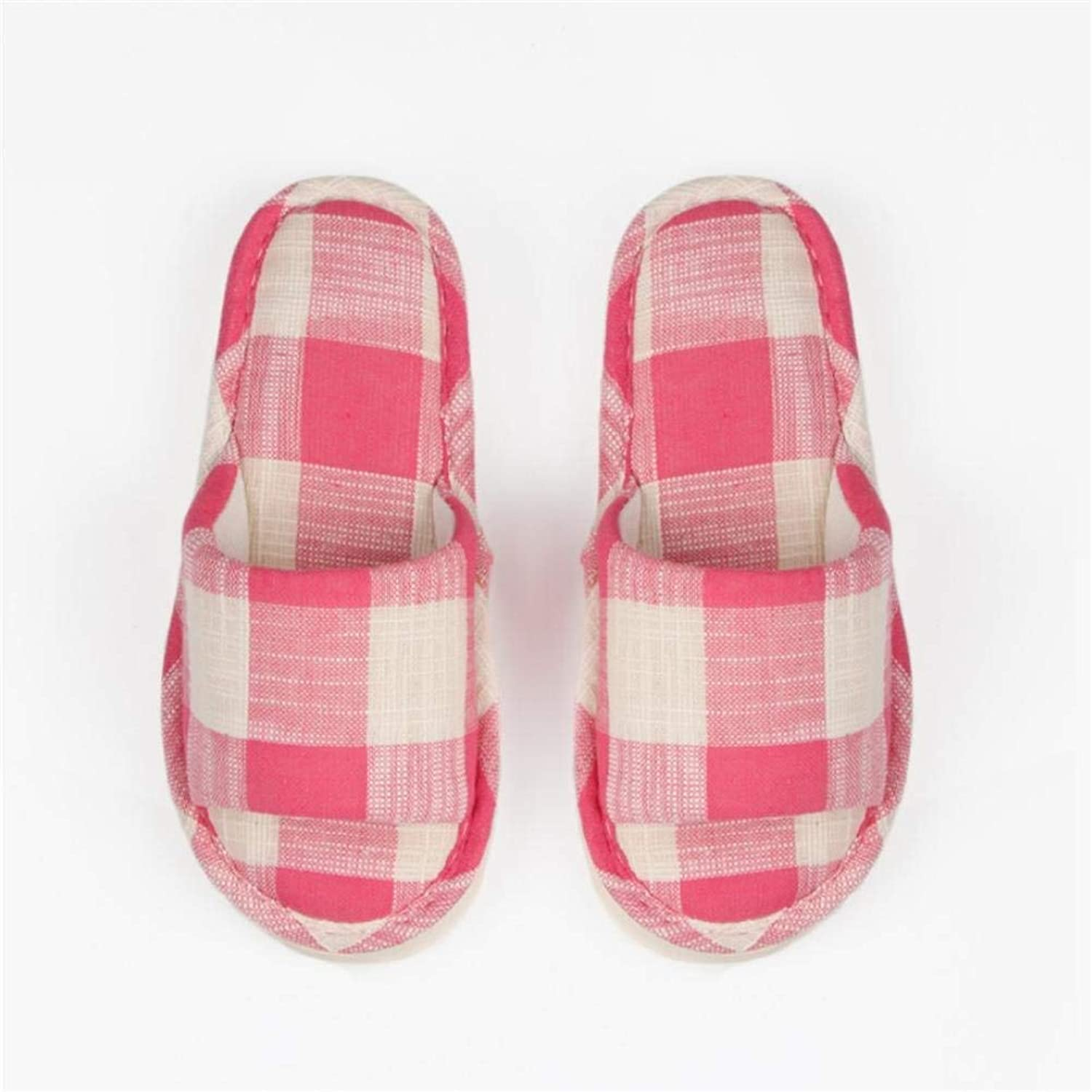 So8ooa Lady Slippers Home Indoor Lady Leisure Skid Linen Slipper Pink Red Yellow Fashion Personality Creativity Slipper for Women