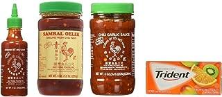 Huy Fong Sriracha 9oz + Chili Garlic Sauce 8oz+ Sambal Oelek 8oz Assorted Favorite Asian Sauces 3-Pack Exclusive Bundle Plus a Free Gift Trident Gum