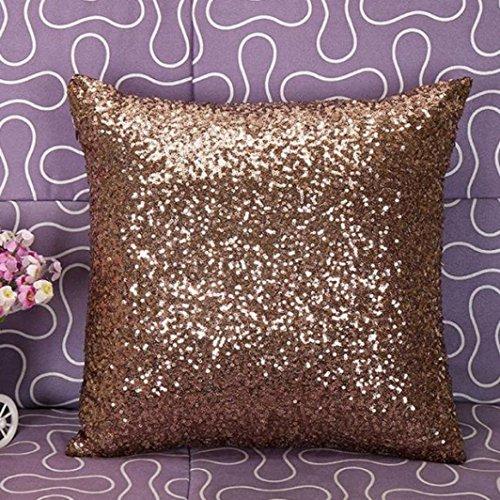 VJGOAL Glitter pailletten eenkleurig sierkussen Fall Café Home Decor kussen 40cm * 40cm koffie