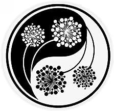 DIYthinker Buddhism Buddhist Yin-Yang Flower Design Anti-Slip Floor Pet Mat Round Bathroom Living Room Kitchen Door 80Cm Gift