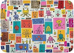 VSNKSU Bath Mat Rug,Toy Cute Robots Collage Cartoon Retro Doodle Pattern Kawaii,Plush Bathroom Decor Mats with Non Slip Ba...