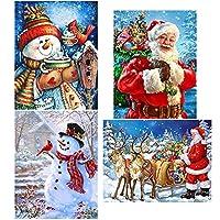 Augshy 4パック 5D DIY ダイヤモンド ペインティングキット クリスマス フルドリル ラインストーン 刺繍 クロスステッチ ペインティング クリスマス ホームデコ