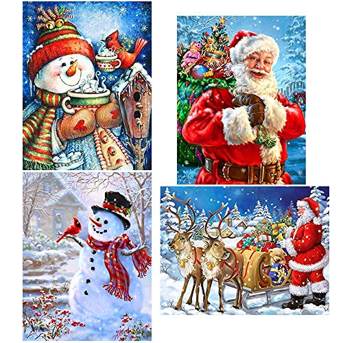 Augshy 4 Pack 5D DIY Diamond Painting Kits Chrismas Full Drill Rhinestone Embroidery Cross Stitch Painting for Christmas Home Decor