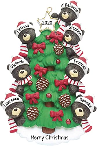Personalized Bear Tree Family of 7 Christmas Ornament 2020 - Cute Parent Child Friend Santa Hat Garnish Cone Black Tr...