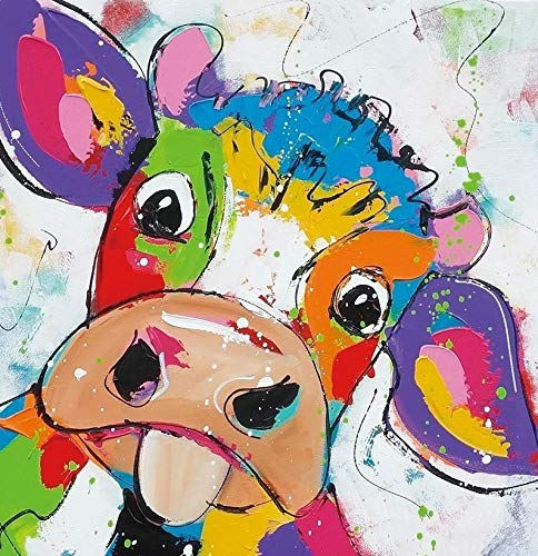 ETA-BL Tableau Peinture Pop Art Vache Multicolore. Peinture sur Toile. Dimensions : 60X60 cm. Décoration Moderne et Design pour des intérieurs contemporains.