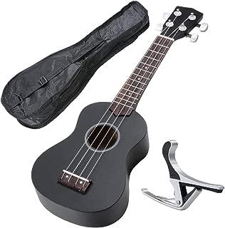 AW 21 Inch Black Soprano Ukulele Basswood w/Bag Aluminum Capo For Adult Kids Study Musical Instrument