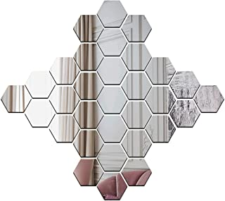 Wall1ders 1Store 30 Hexagon with 10 Butterflies Silver (Size 10.5 x 12.1 cm Each Piece) 3D Acrylic Decorative Mirror Wall ...