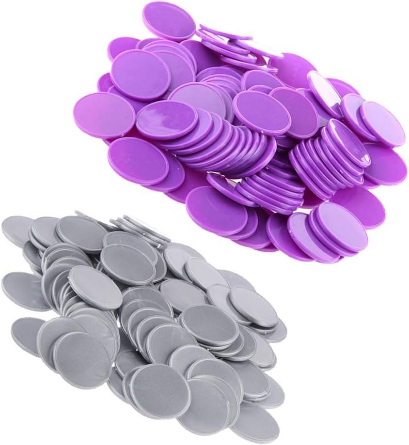 TX GIRL 200Pcs Bingo Chips Purple Casino Gray Poker Plastic Max Regular dealer 55% OFF Ch