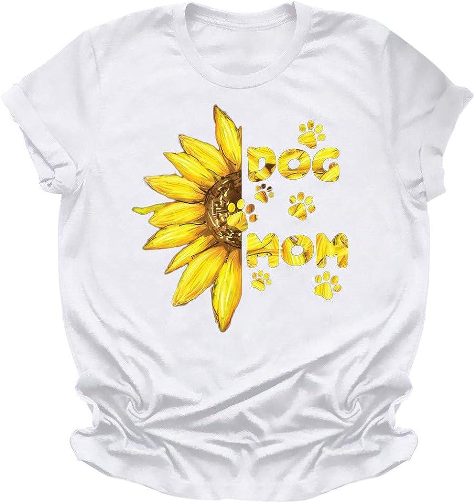 Women's Sunflower T Shirts,Women's Comfy Casual Twist Knot Tunics Tops Blouses Summer T Shirts Tops