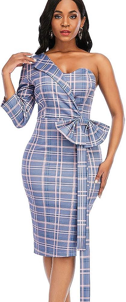 AOMEI Women's Plaid Irregular Sleeve Backless Bowtie Peplum Slim Pencil Dress