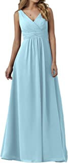 ANGELWARDROBE Women Double V Neck Bridesmaid Dresses Long Evening Gown with Pleated Waistband