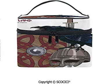 Printed Durable Portable Travel Cosmetic Bags Raven on Steel Helmet Nordic Sword Shield Warfare Scandinavian Army Medieval Armour with Mesh Pocket Women Make Up Bags