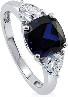 Rhodium Plated Sterling Silver Simulated Blue Sapphire Cushion Cut Cubic Zirconia CZ 3-Stone Anniversary Engagement Ring 3.84 CTW