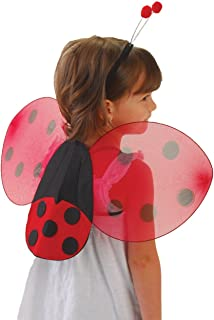 GiftExpress Ladybug Wings & Antenna Costume Set/Ladybug Wing Costume for Halloween/Ladybug Costume for Girls Black and Red