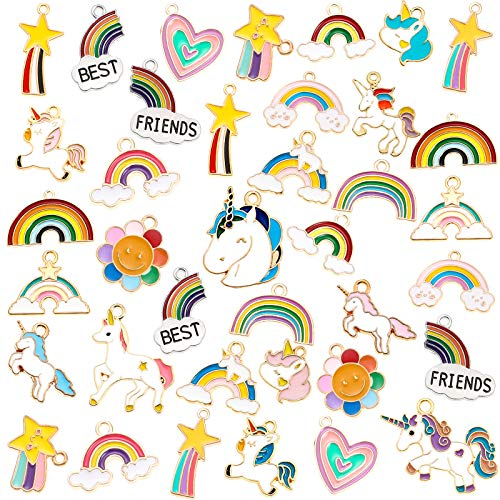 50 Pieces Unicorn Charms Enamel Rainbow Cloud Star Charms Gold Plated Enamel Sunflower Heart Charms Pendant Mixed for Jewelry Making Necklace Bracelet Girl Craft DIY Accessories