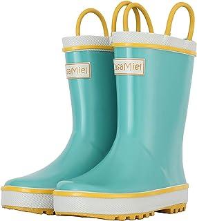CasaMiel Toddler Rain Boots for Kids Unisex Kids Rain Boots for Girls and Boys, Handmade Natural Rubber Rain Boots for Children Botas para Niños