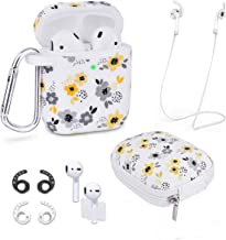 Airpods Case - Airspo 7 in 1 Airpods Accessories Set Compatible with Airpods 1 & 2 Protective Silicone Cover Floral Print Cute Case (White+Yellow Flower)