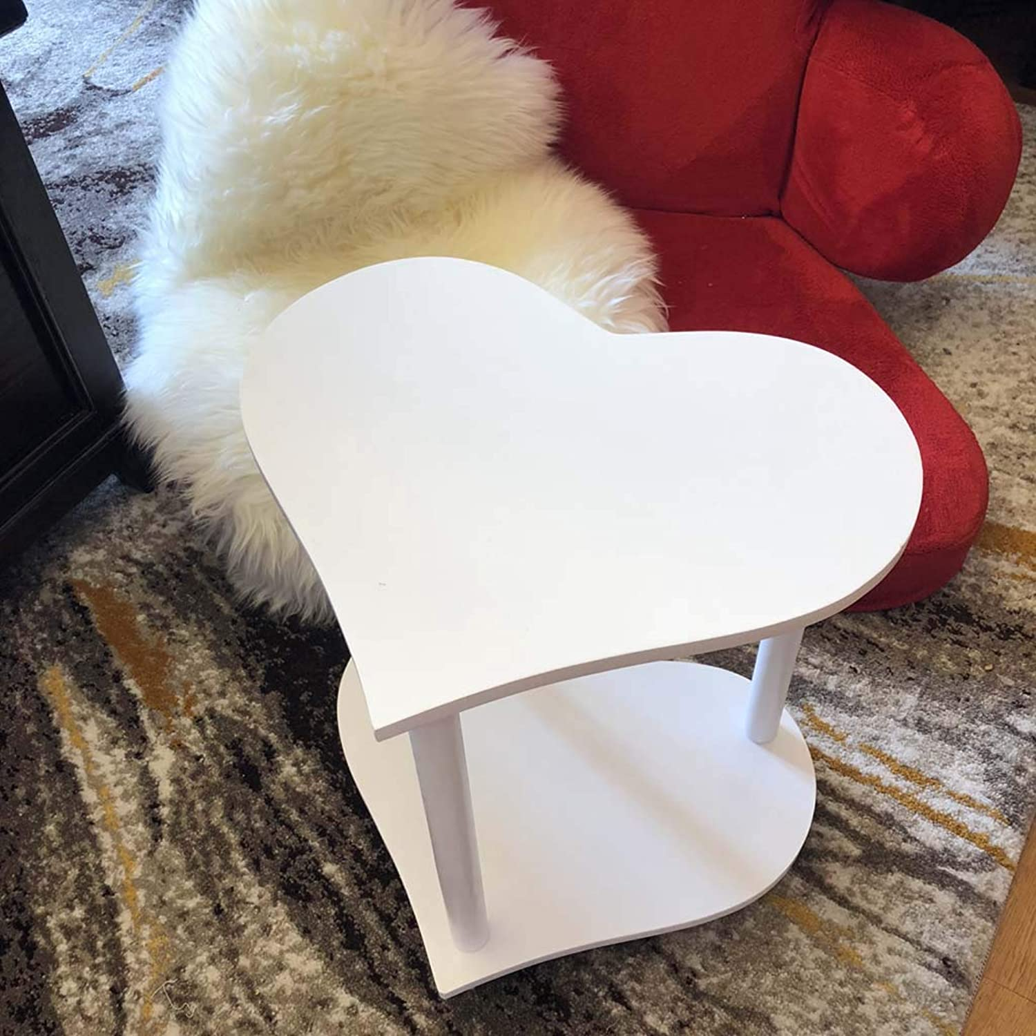 Stylish Coffee Table Modern Minimalist Solid Wood Heart-Shaped Small Apartment Creative Table (color   White)