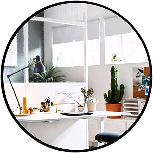 Elevens Wall Round Mirror Popular 32 Inch Round Wall Mounted Decorative Mirror Metal Frame Best For Vanity Washrooms Bathroom And Living Rooms Black