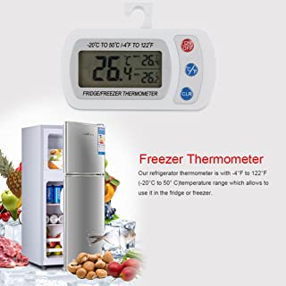 ABS -20℃ ~50℃ Thermometer, Fridge Thermometer, Hanging Digital Moisture Resistance Fridge for Kitchen Home Refrigerator