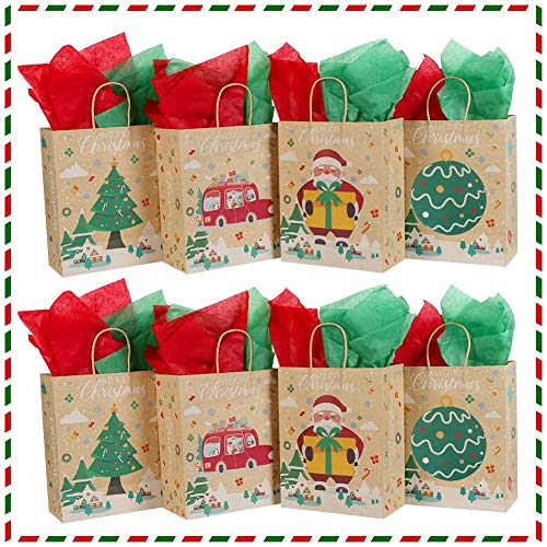OurWarm 24PCS Christmas Kraft Gift Bags Assorted, Christmas Treat Bags Holiday Gift Bags with Tissue Paper, Paper Christmas Bags Goodie Bags Cookie Bags Xmas Gift Bags for Party Favors