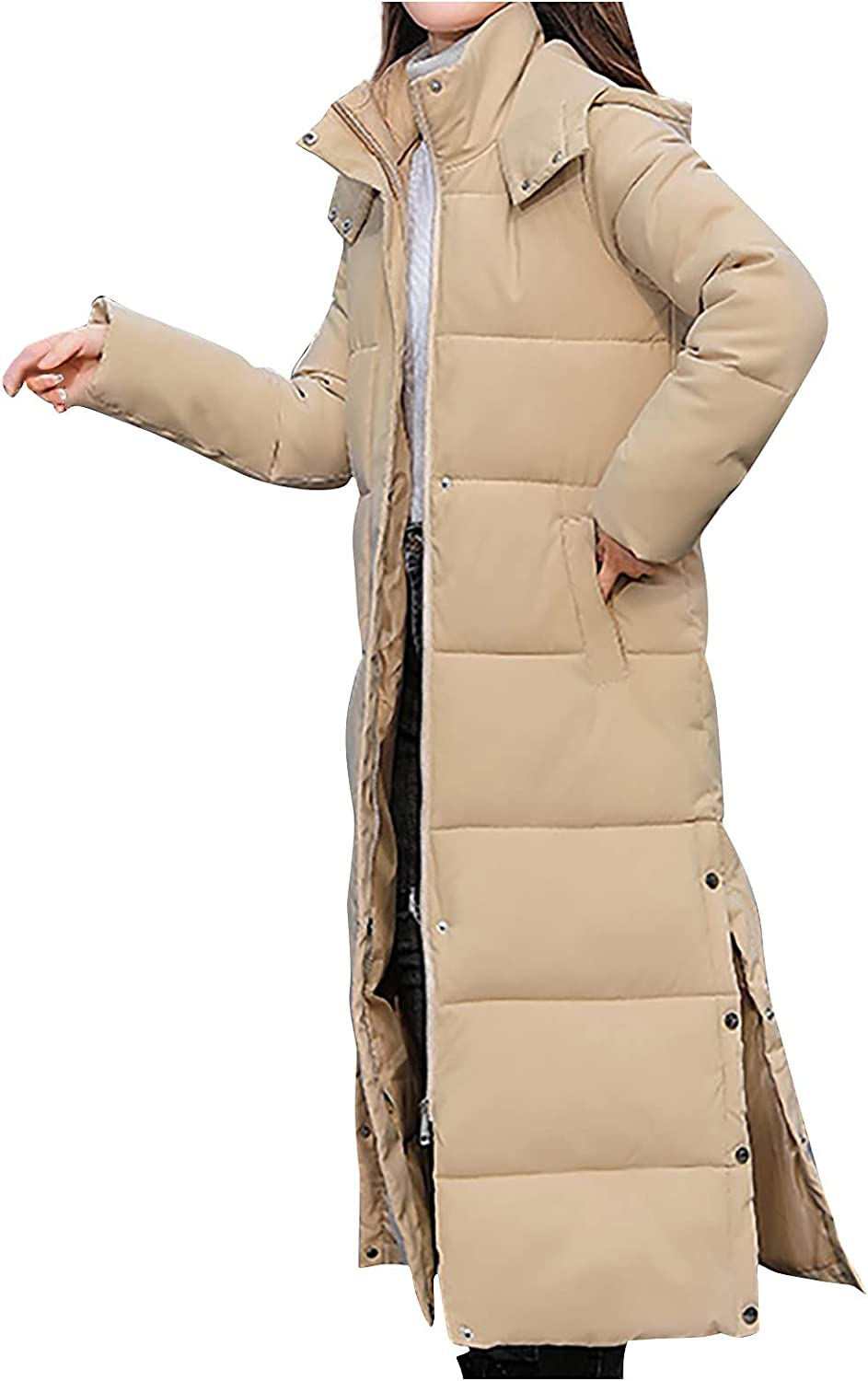 Women's Winter Warm Thicken Down Coats Hooded Zipper Puffer Jacket With Pockets Quilted Long Overcoat Casual