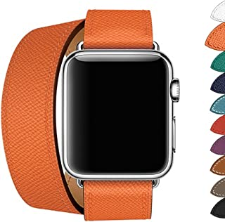PTpower Leather Double Tour Band Compatible for Apple Watch Replacement Double Wrap Strap with Stainless Steel Clasp for iWatch Series 4 3 2 1,Sport Edition,for Men Women (Orange, 38mm)