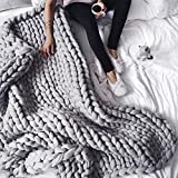 ACARPO Chunky Knit Blanket Handwoven Wool Yarn Knitting Throw Bed Sofa Super Warm Home Decor Grey 47'x59'