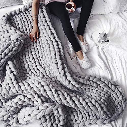 incarpo Chunky Knit Blanket Handwoven Wool Yarn Knitting Throw Bed Sofa Super Warm Home Decor Grey 47'x71'