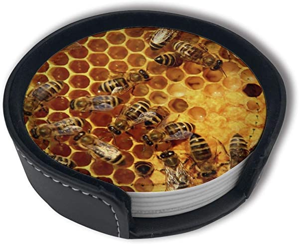 HBLSHISHUAIGE Honeycomb Bee Coasters With Holder Set Round Mugs And Cups Mat Pad For Drinks Suitable For Home And Kitchen 6PCS