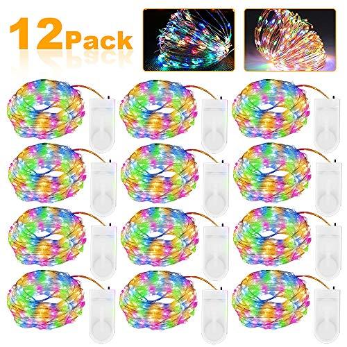 Vivibel 12 Stück LED Lichterkette Batterie Bunt, 2M 20 LED Kupferdraht Lichterkette Batteriebetrieben IP65 Wasserfest Fairy Light für Party Garten Weihnachten Hochzeit Beleuchtung Deko