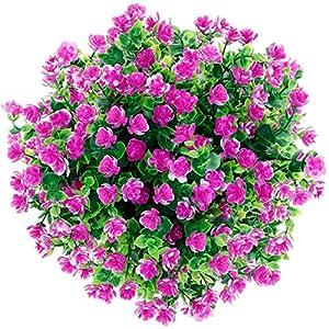 Silk Flower Arrangements Ahsado Artificial Fake Flowers 4 Bundles Outdoor UV Resistant Greenery Shrubs Plants Indoor Outside Hanging Planter Home Garden Decorating (Pink)
