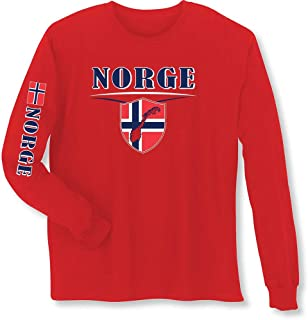 WHAT ON EARTH Unisex Adult International Long Sleeve T-Shirt- Norge (Norway)