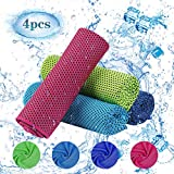 BELIOF 4 PCS Asciugamano Ghiaccio per Sport Yoga Asciugamano Raffreddamento per Gym Palest...